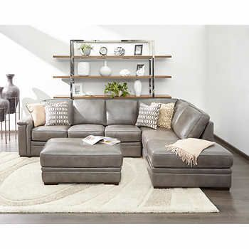 Alandro Grey Top Grain Leather Sectional with Pull-out Bed and