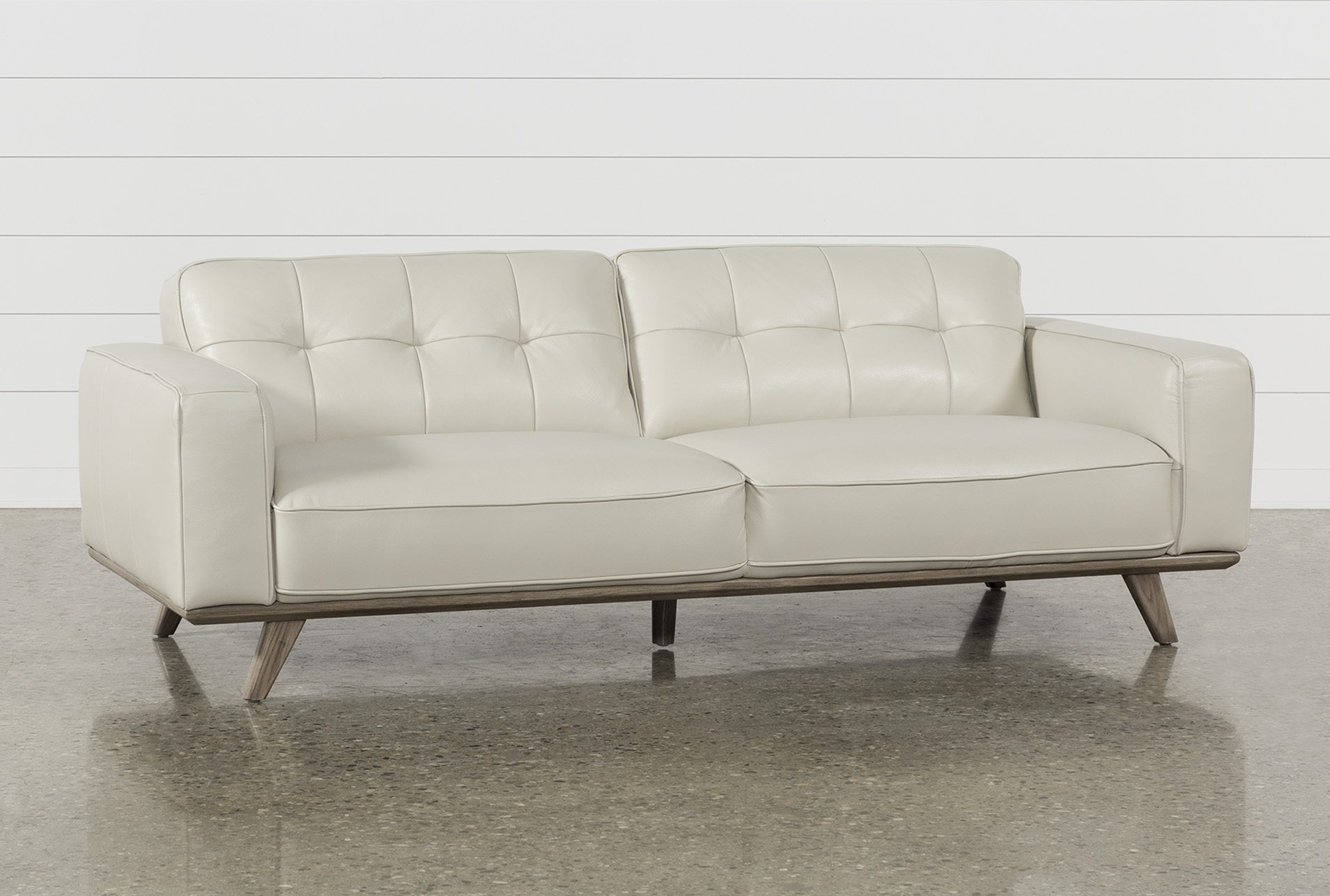 Caressa Leather Dove Grey Sofa | Living Spaces