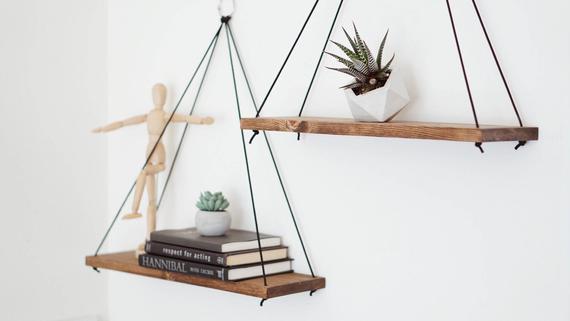 Hanging Shelves / Set of 2 Large Shelves / Floating Shelves / | Etsy