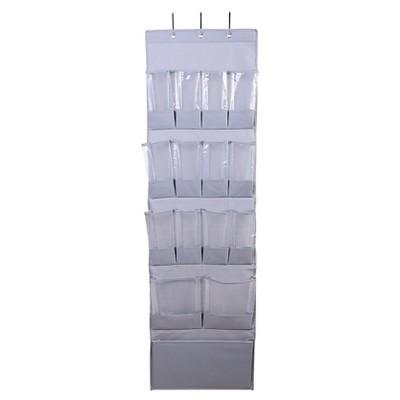 15-Pocket Over-the-Door Hanging Shoe Organizer Gray - Room