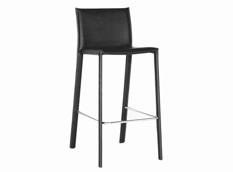 Crawford Black Leather Counter Height 24 Bar Stool | Affordable