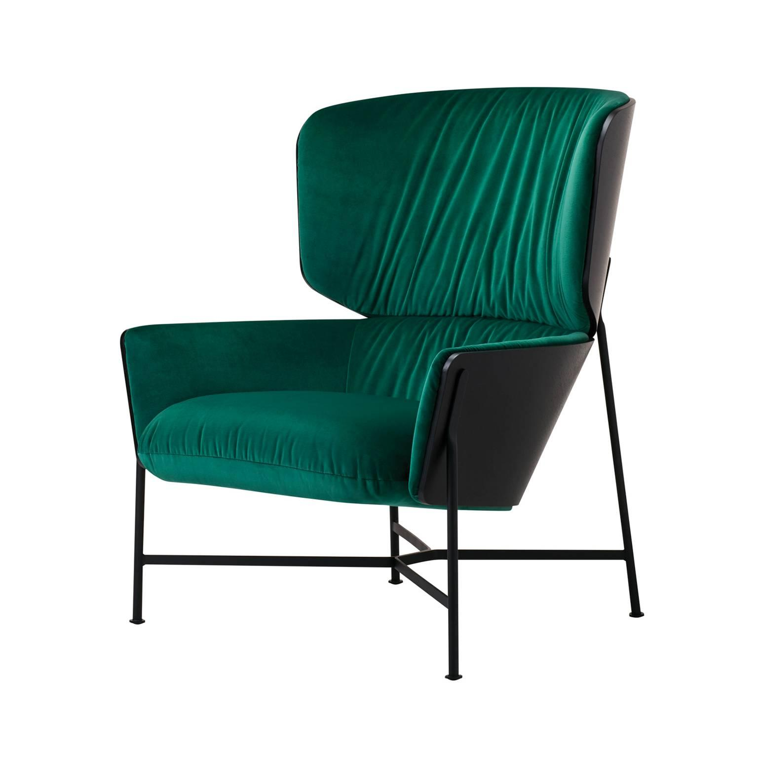 Caristo High Back Armchair Upholstered in Leather or Fabric with