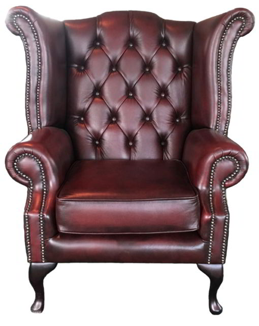 Chesterfield Queen Anne High Back Armchair Genuine Leather Antique