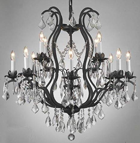 Wrought Iron Crystal Chandelier Lighting Chandeliers H30