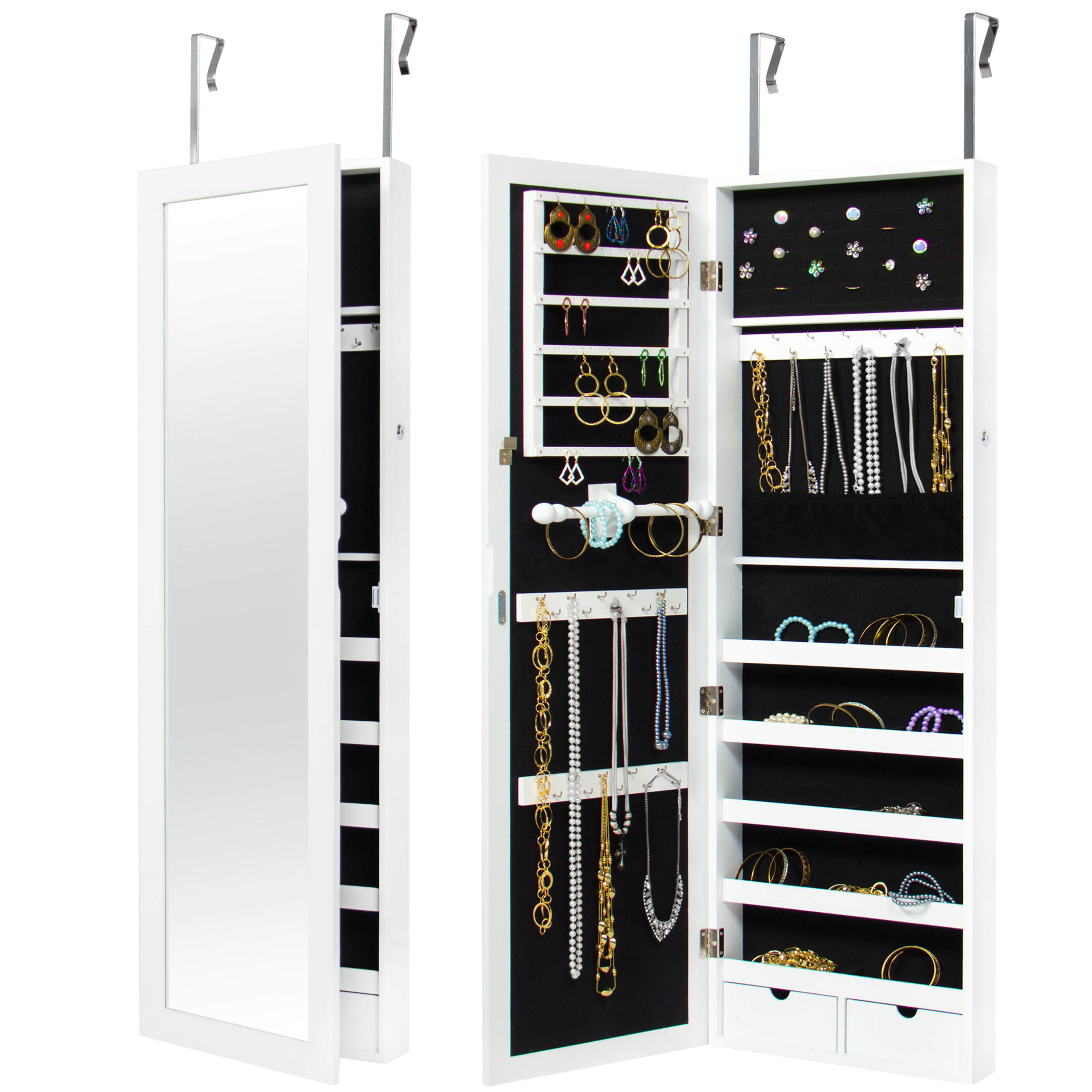 Best Choice Products Mirrored Hanging Jewelry Cabinet Armoire