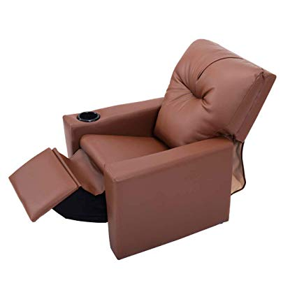Amazon.com: Kids Recliner with Cup Holder Brown Leather Sofa Chair