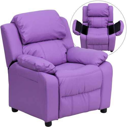 Kids Furniture - Deluxe Heavily Padded Contemporary Lavender Vinyl