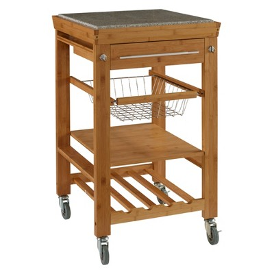 Kitchen Cart With Granite Top Wood/Natural - Linon Home Decor : Target