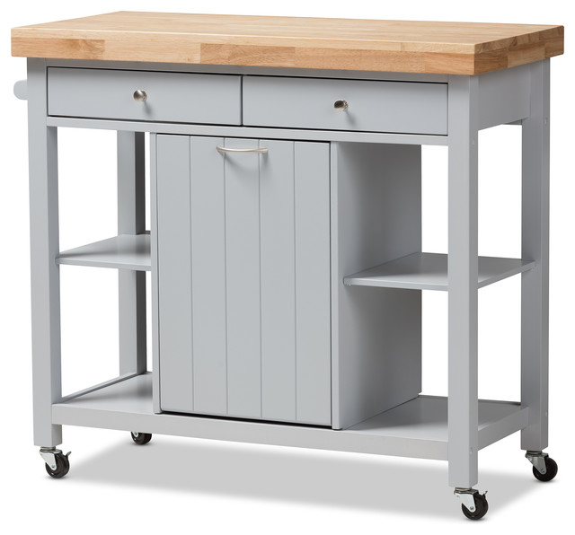 Hayward Coastal and Farmhouse Wood Kitchen Cart - Transitional