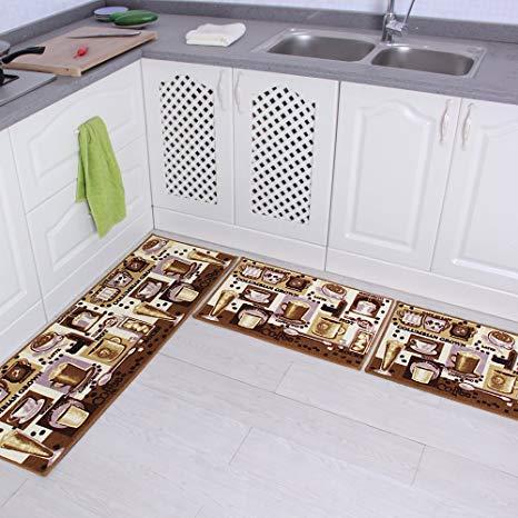 Amazon.com: Carvapet 3 Piece Non-Slip Kitchen Mat Rubber Backing