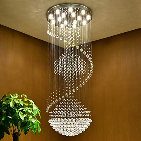 VALLKIN Luxury Modern Large Big Stair Long Spiral Crystal