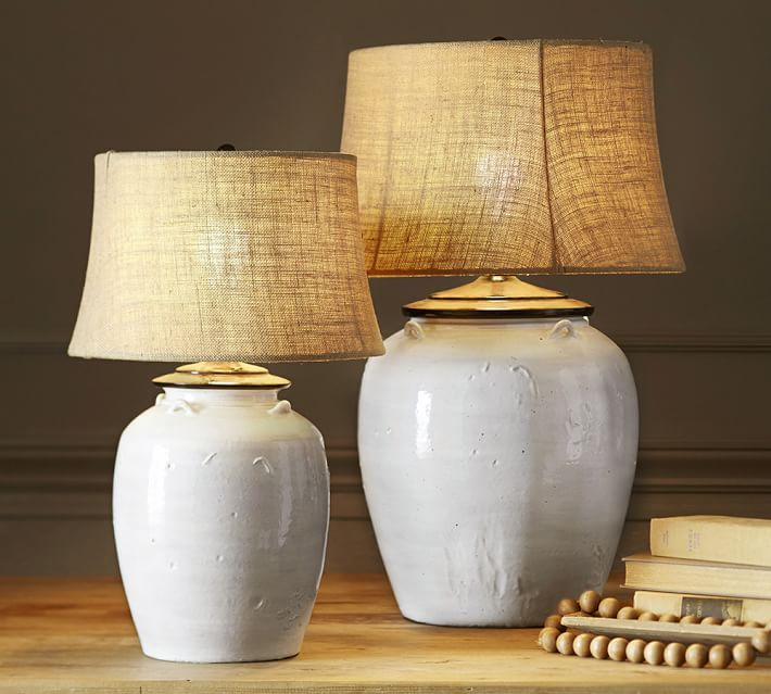 Courtney Ceramic Table Lamp Base - Ivory | Pottery Barn