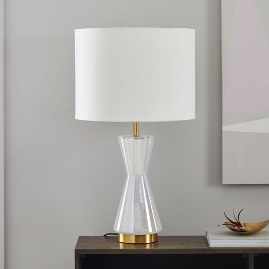 Metalized Glass Table Lamp + USB - Large (Pearl) | west elm