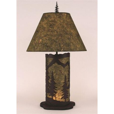 Large Table Lamp with Metal & Parchment Shade