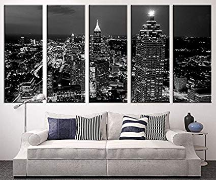 Amazon.com: Extra Large Art - Atlanta Night Canvas Art Print, Large