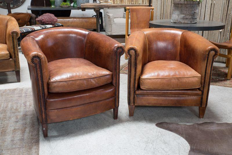 VINTAGE LEATHER CLUB CHAIRS - BD Antiques
