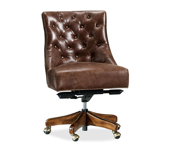 Hayes Tufted Leather Swivel Desk Chair