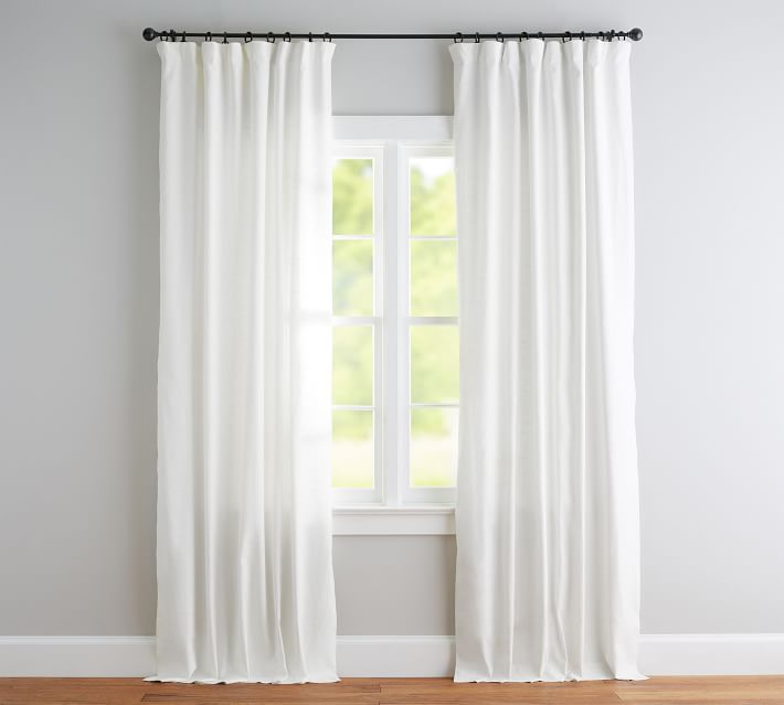 Emery Linen Pole-Pocket Blackout Curtain | Pottery Barn