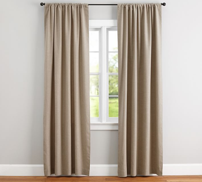 Emery Linen Pole-Pocket Curtain - Walnut | Pottery Barn
