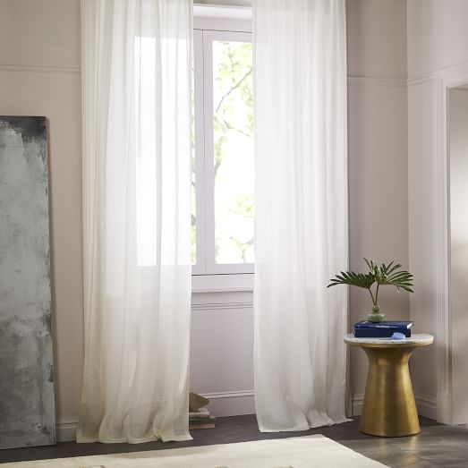 Sheer Belgian Flax Linen Curtain - Ivory | west elm