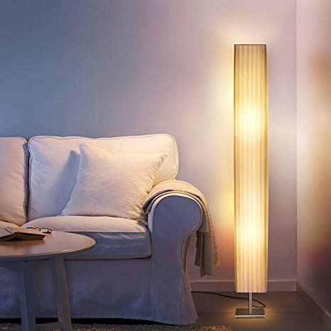 Albrillo Fabric Floor Lamp, Modern Asian Style Standing Lamps with