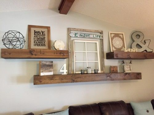 Living Room decor - rustic farmhouse style floating shelves over