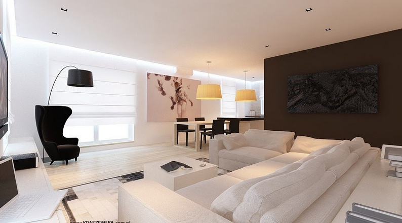 Brown white lounge decor | Interior Design Ideas.