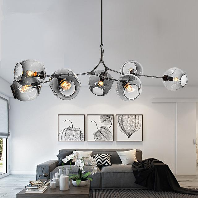 Modern Chandeliers Lighting Branching Bubble Ball Pendant Lamp Gold