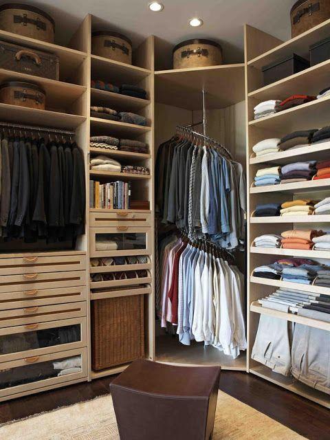 Solutions to corner shelf in closet | OrganizingMadeFun.com | Closet