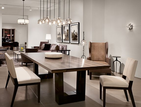 Contemporary dining room. Love the modern wood dining table, the