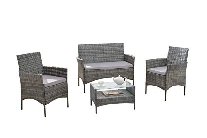 Amazon.com : Modern Outdoor Garden, Patio 4 Piece Seat - Grey, Dark