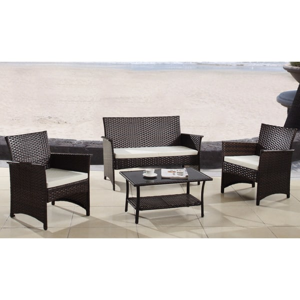 Shop Modern Outdoor Garden Patio 4-piece Wicker Sofa Furniture Set