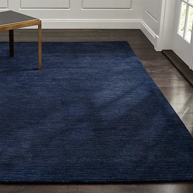 Baxter Navy Blue Wool Rug | Crate and Barrel