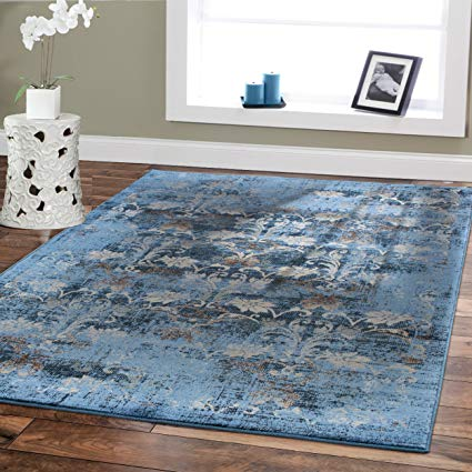 Amazon.com: Premium Soft 8x11 Modern Rugs For Dining Room Blue Rugs