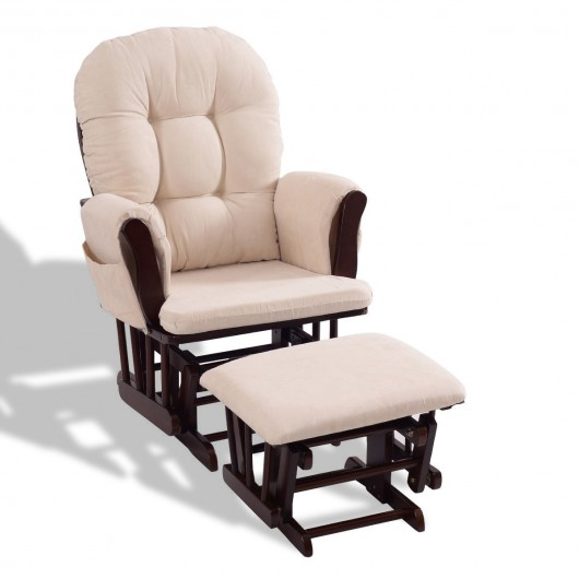Baby Nursery Rocking Chair with Adjustable Backrest + Ottoman - Baby