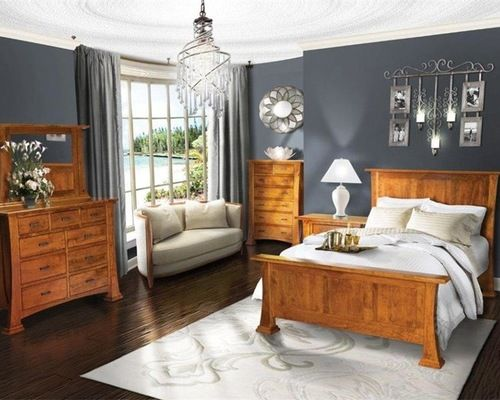 Bedroom - Update dated Honey / Golden Oak furniture with a more
