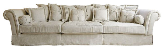 Oversized Sofa, Sand Linen - Traditional - Sofas - by Silver Coast