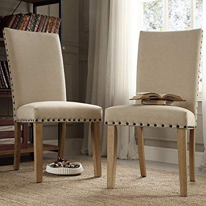 Amazon.com - Aberdeen Beige Upholstered Nail head Parson Chair (Set