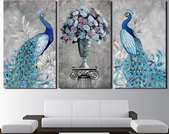 Peacock wall art | Etsy