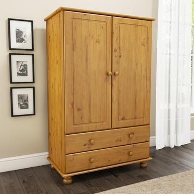 Hamilton 2 Door 2 Drawer Combi Short Wardrobe in Pine | Furniture123