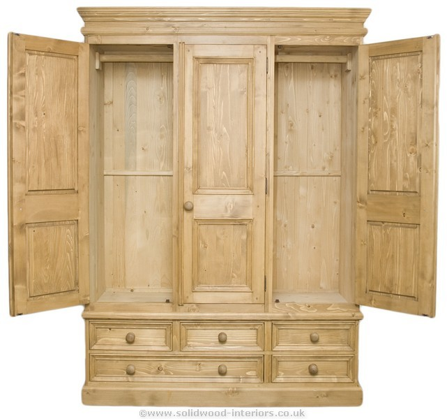 Solid Wood Interiors u003e Waxed solid pine triple wardrobe
