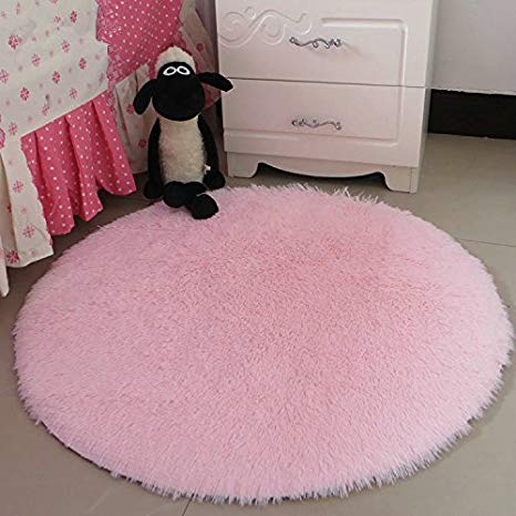 Amazon.com: Hoomy High-pile Fluffy Rugs Round Light Pink Floor Mat