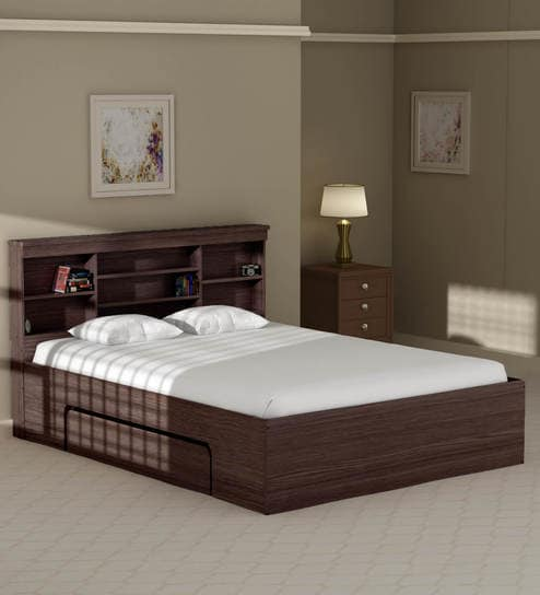 Buy Toya Queen Size Bed with Drawer Storage in Walnut Finish by