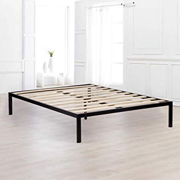 Amazon.com: Bed Frame Metal Platform Bed Frame Queen Size Steel Wood