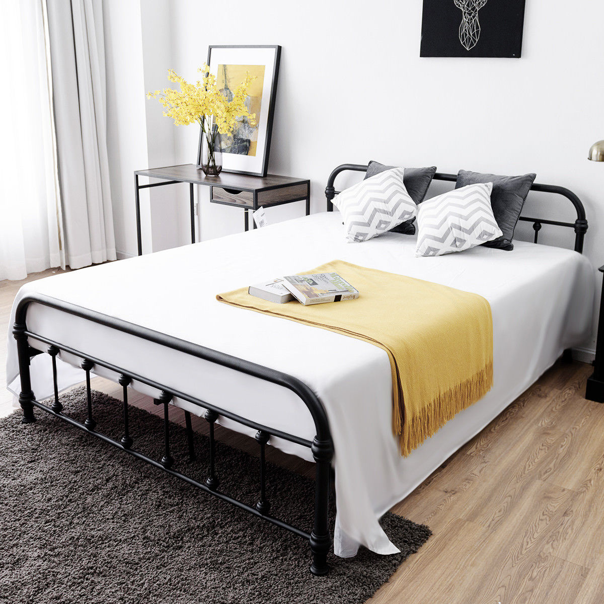 Costway Queen Size Metal Steel Bed Frame W/ Stable Metal Slats