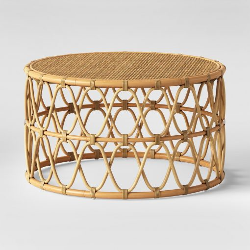 Round Rattan Coffee Table Rental | San Diego Lounge Rentals