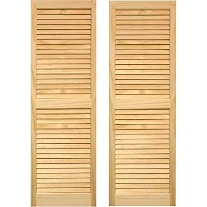 Amazon.com: Pinecroft 15W in. Louvered Wood Shutters: Home & Kitchen