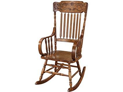 Amazon.com: Rocking Chair with Ornamental Headrest Warm Brown