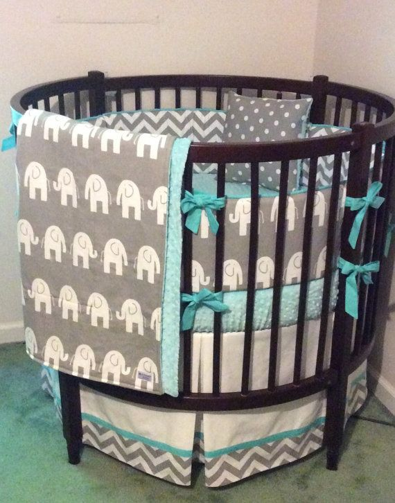 Round Crib Bedding Set Aqua Gray and White Elephants | Round crib