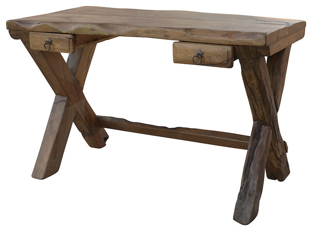 Harbow Live Edge Rustic Desk - Rustic - Desks And Hutches - by Fennec